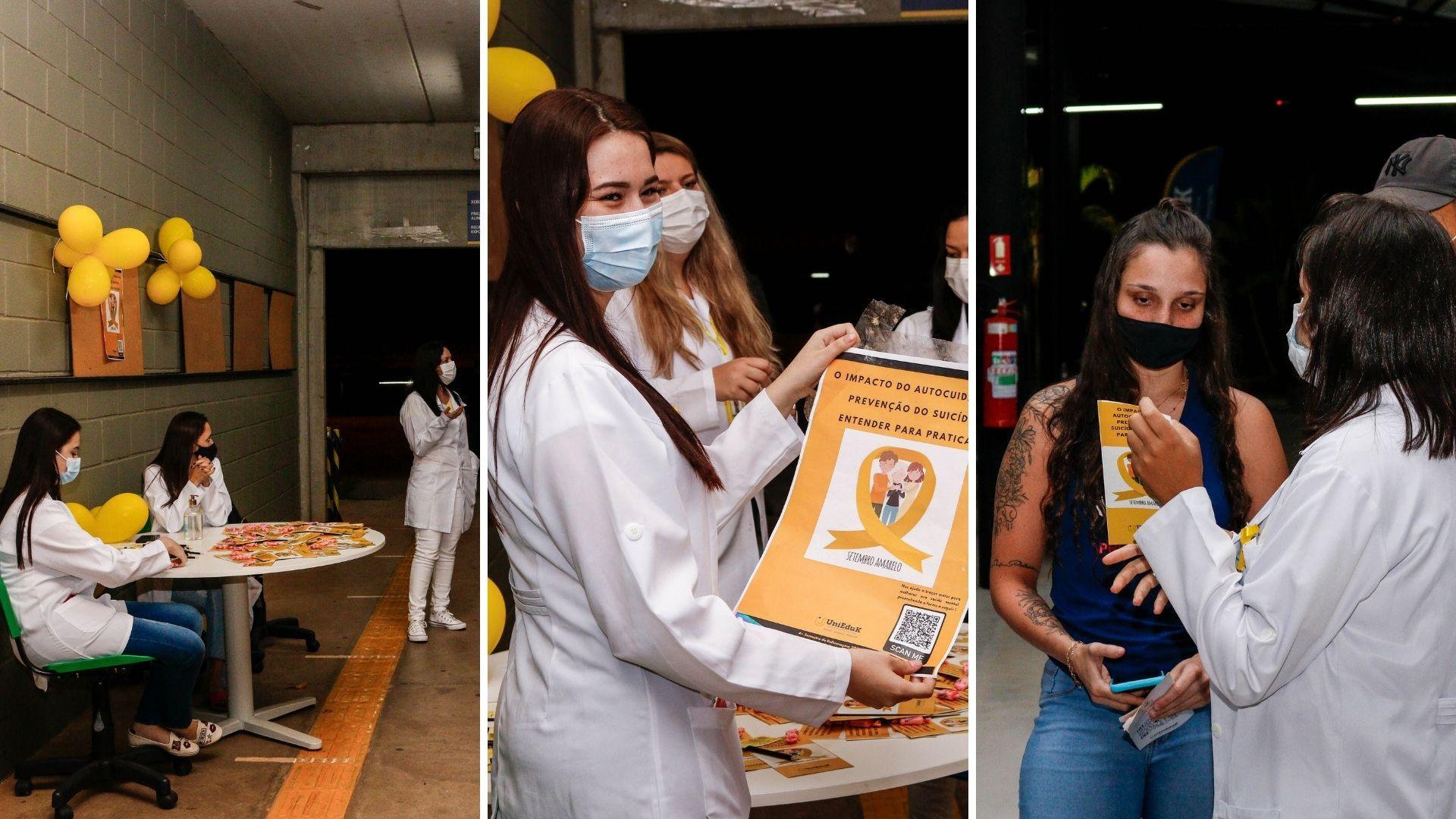 A imagem traz os alunos de Enfermagem atuando na campanha do Setembro Amarelo, conversando com pessoas e entregando folders.