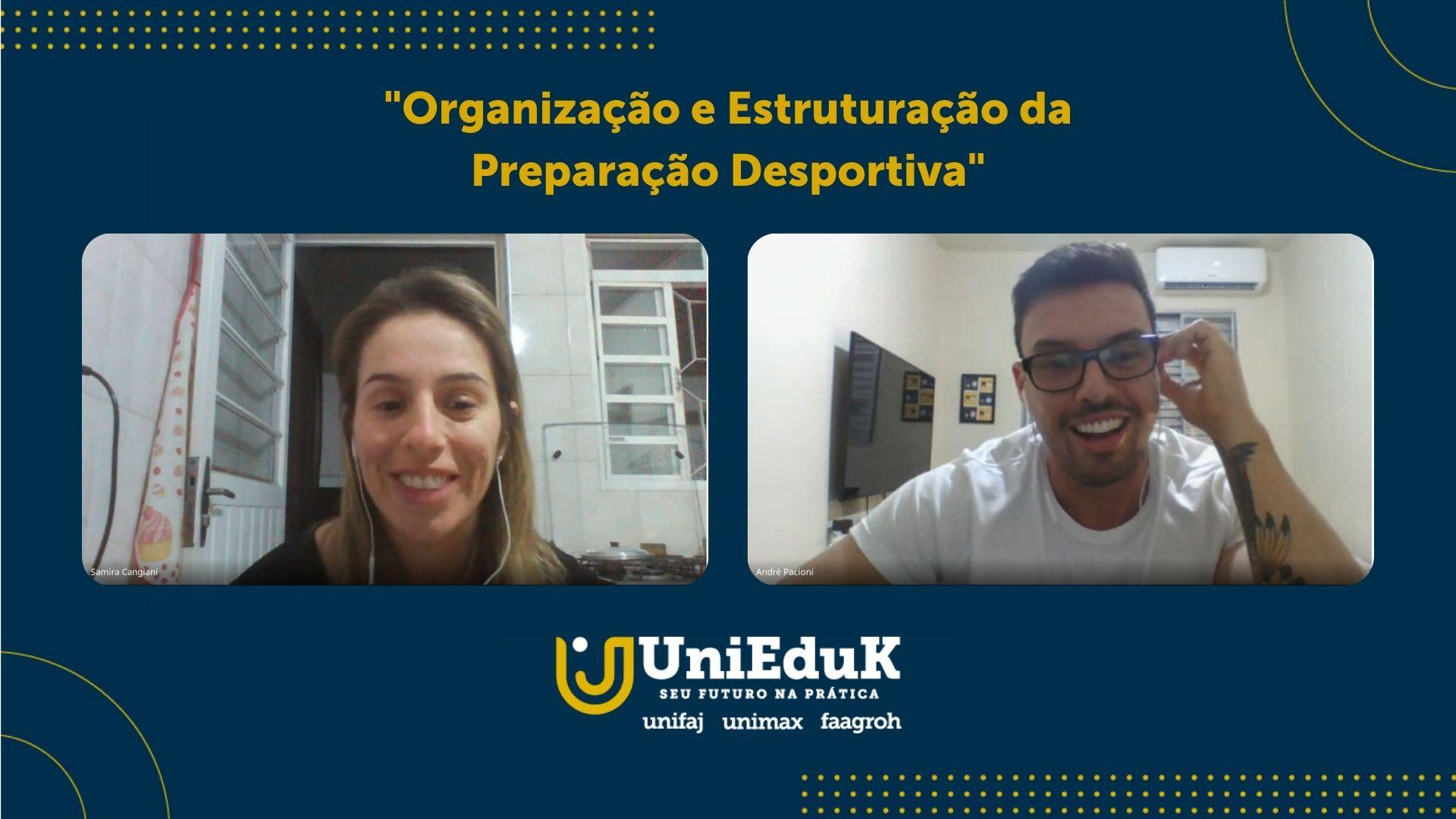 A imagem mostra a reunião online, com a professora Samira Cangiani Santos e o professor André Pacioni, palestrantes convidados.
