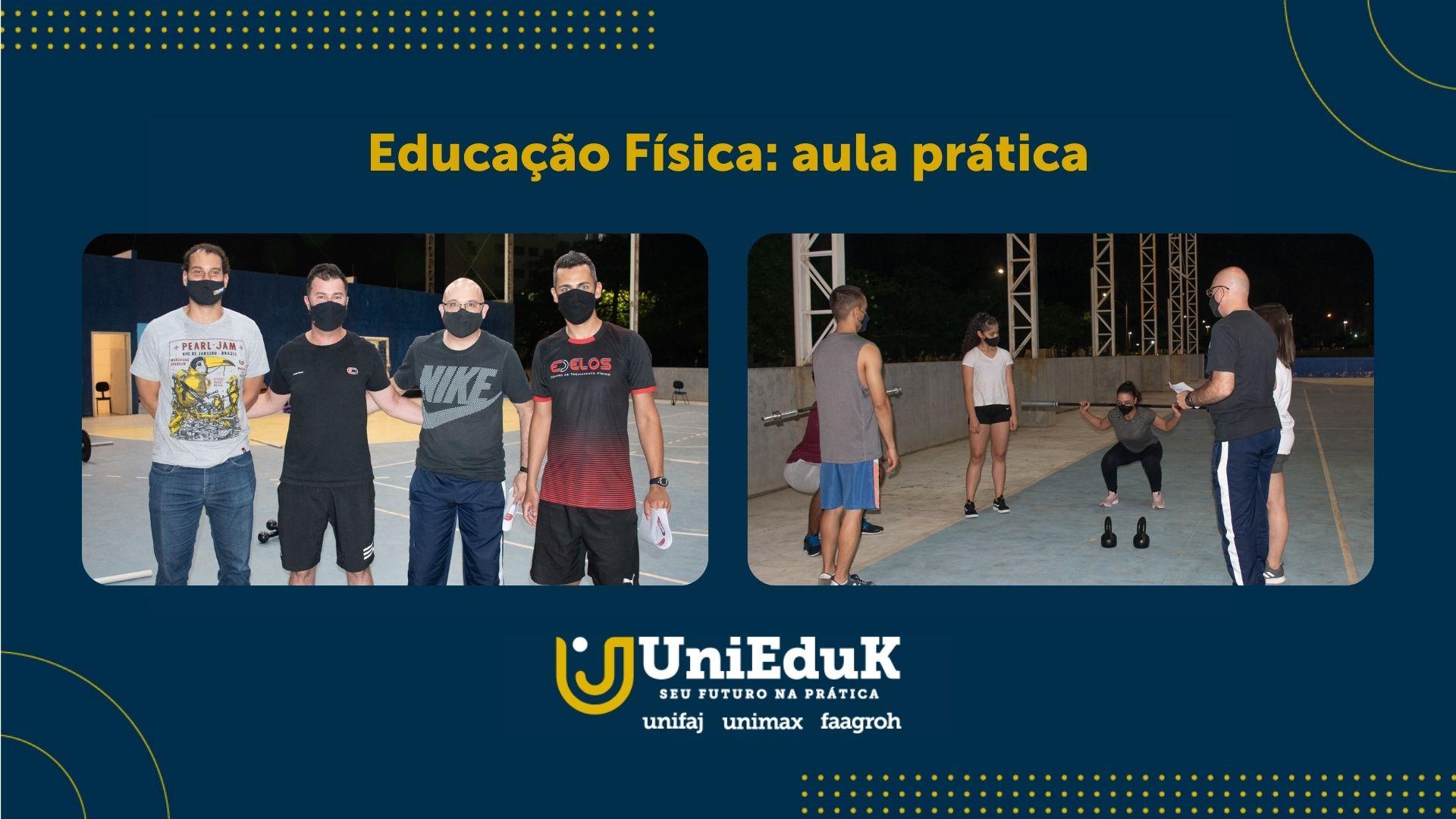 A imagem traz fotos da aula prática de Educação Física, com os responsáveis e uma aluna demonstrando um exercício com peso.