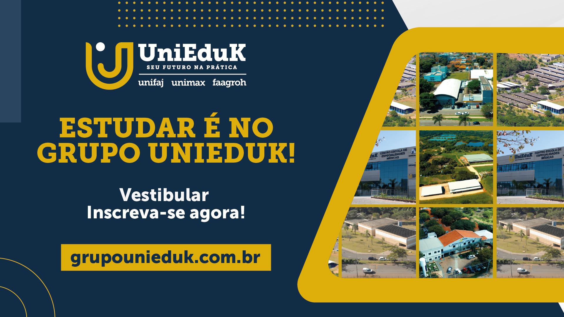 A capa traz uma arte de divulgação do vestibular mostrando as instalações do Grupo UniEduK.